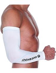 Rehband Armschoner Compression Arm Sleeve - Protecciones de antebrazo para artes marciales, color blanco, talla xxl/xxxl
