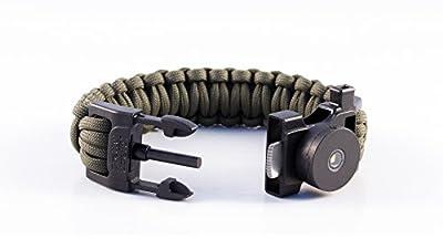 Pretty Useful Paracord Survival Armband mit Pfeife, Seil, Feuerstein, Messer und SOS LED Licht - Multifunktionstool Zum Wandern, Campen, Festival, Backpacking, Outdoor Abenteuer