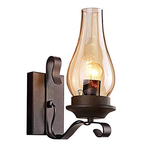 Lámpara De Pared Rústica Vintage De Una Sola Pared, E27 Lámpara De Pared De Queroseno De Viento Industrial...