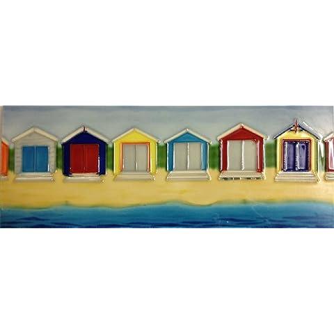 Piastrelle in ceramica, immagine di piastrelle, CABANAS, immagine spiaggia con capanne colorate, lunghezza 40,64 cm x (6 (16 15,24 cm - Immagini Di Piastrella