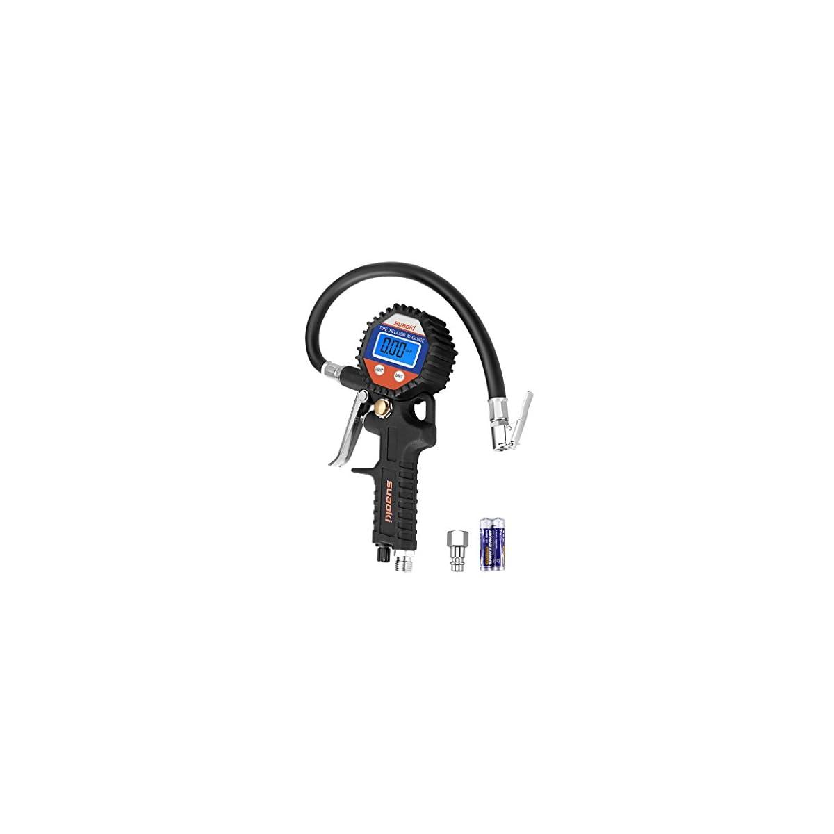 41V5HT6cRNL. SS1200  - Suaoki - 150 PSI Manómetro Digital, Medidor de Presión de Neumáticos con Manguera y Acoplador para Motocicleta, Bcicleta y Coche
