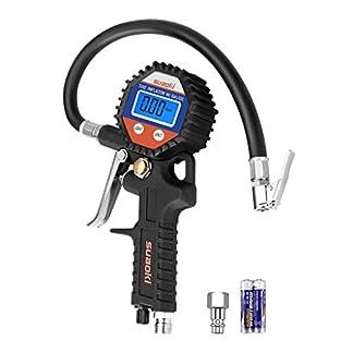 Suaoki – 150 PSI Manómetro Digital, Medidor de Presión de Neumáticos con Manguera y Acoplador para Motocicleta, Bcicleta y Coche