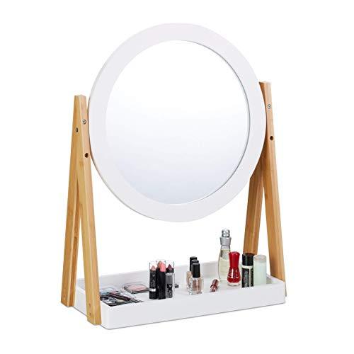 Relaxdays Espejo Maquillaje Giratorio con Bandeja, Bambú-DM-Cristal, Blanco-Marrón, 32,5 cm de diámetro...