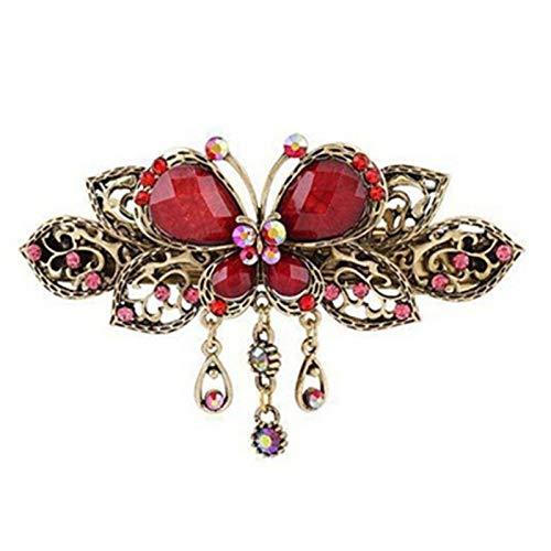 JOYfree Schmetterlings-Quaste Haarnadel süße Tierform Klassische Retro Feder Clip Künstliche Kristall Inlay Strass Haarschmuck Größe rot -