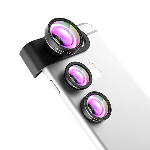 Objektiv Fisheye, Mpow® 3in 1Wechselrahmen 180Grad Supreme Objektiv Fisheye + 0,65x Weitwinkel-Objektiv + Makro-Kamera Foto Kit für iPhone 7/6/6Plus/5/5S/SE, iPad Air 2/1, iPad 4/3/2, iPad Mini 3/2/1, Sony Xperia, Motorola Droid und andere Smartphones (schwarz)