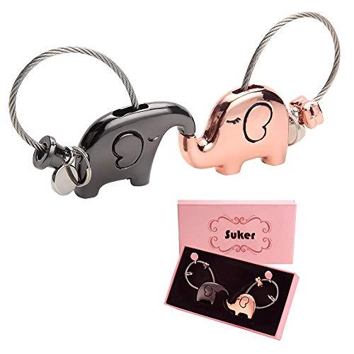 Suker Llavero Amante 1 Par Elefante Besando Llaveros para Pareja Amigos, Dulce Regalo para el día de San Valentín, Boda, Navidad, cumpleaños, Oro Rosa y Brillante Negro