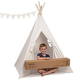 Tenda Teepee in Tela per Bambini, in Cotone Robusti Paletti in Legno di Pino e Bandiere Divertenti – per 2 Bambini, Interno ed Esterno, Ragazzi e Ragazze