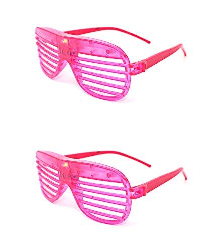 Ultra ® 2 rosa Farbe blinken Retro-LED-Brille für Erwachsene und Kids Parties Party-Events Raves Dance Clubs und Kostüm Parties Pink Green Blue lila weiß gefärbt Schlitz Farben Neuheit Brillen Glowing Licht up-Tracks