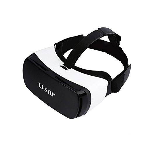 LESHP Lunettes 3D VR Casque Bluetooth de Réalité Virtuelle Goggles Bandeau Réglable Lunnettes pour Film et Jeux Vidéo Compatible avec iPhone Android Système