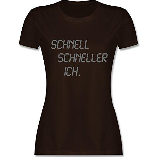 Laufsport - schnell - schneller - ich - tailliertes Premium T-Shirt mit Rundhalsausschnitt für Damen Braun