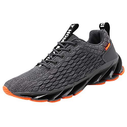 HDUFGJ Herren Laufschuhe Fitness Road Sneakers Atmungsaktiv rutschfeste Mode Freizeitschuhe Straßenlaufschuhe Outdoor Lace-up45(Grau)