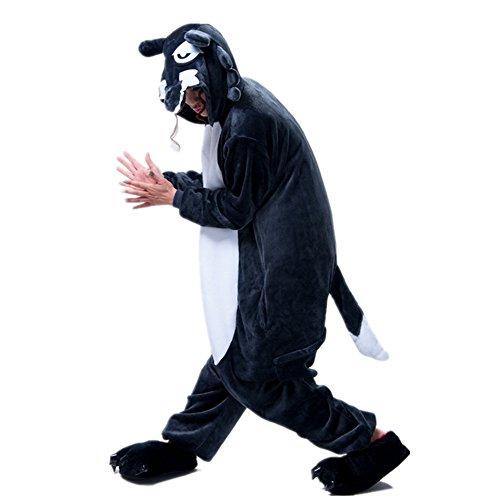 Missley Einhorn Pyjamas Kostüm Overall Tier Nachtwäsche Erwachsene Unisex Cosplay (XL, Big Grey Wolf) (Vollständige Tier Kostüm)