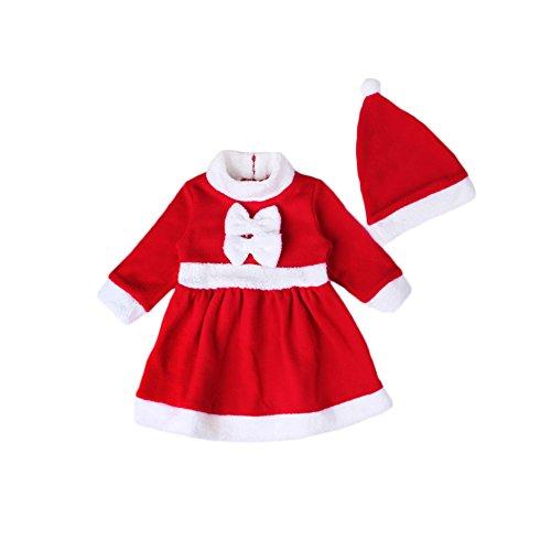 Mädchen Kleider Weihnacht ,Feicuan Rot Langarm Baby Santa Claus Party Kostüm mit Mütze 0-24 (Kleider Kinder Für Santa)