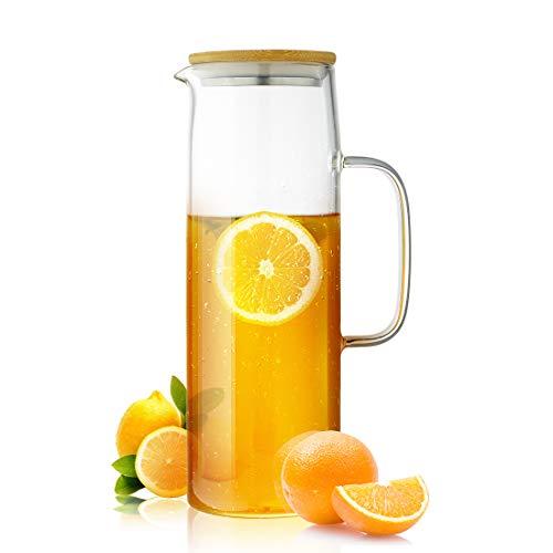 ZDZDZ Jarra de Vidrio de borosilicato para té Helado, Jarra de Agua de Vidrio con infusor y Tapa de Acero Inoxidable extraíble, Vidrio, Transparente, 1,3 l