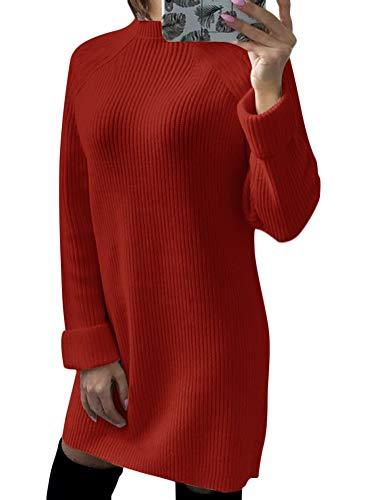 Minetom Damen Pullover Kleider Mode Minikleid Winterkleider Strickkleider Langarm Warm Lose Stricksweat Strickpullover Einfarbi Gestrickt Sweatkleid Rot DE 44 (Red Kleid Pullover)
