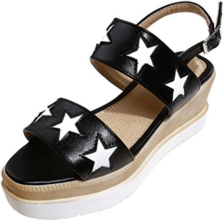 JRFBA-Zapatos mediados del verano, sandalias de tacón, tacón alto y señoras' hebillas, impermeable cuadro zapatos... -