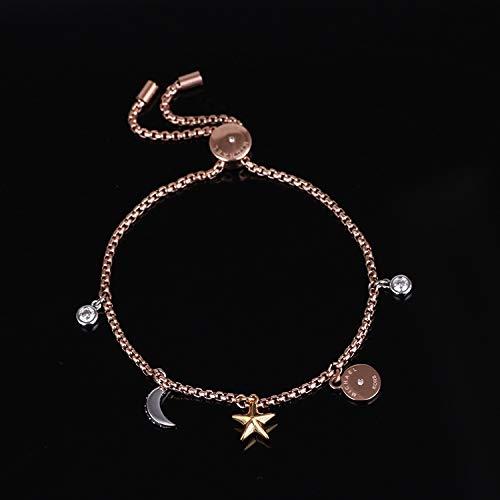 huahua Mosaik Zirkon Stern Mond Scheibe Multi Anhänger Mode Ziehen Ban Ziehen Seil Verstellbararmband Rose Gold