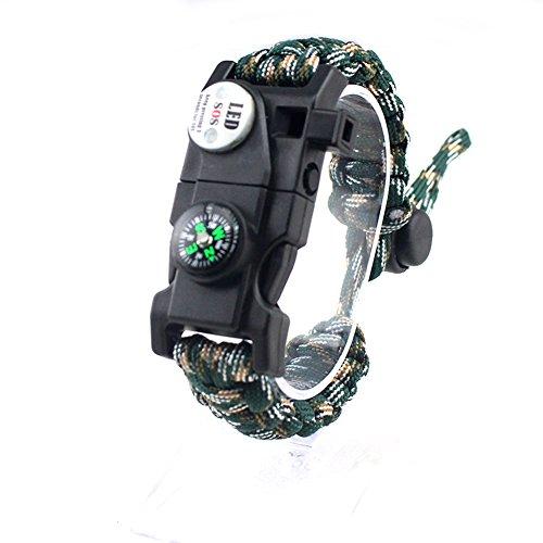 Ssowun Fletion Überleben Paracord 5-in-1 Überlebens-Armbänder mit Kompass,Pfeife,Überlebensbeleuchtung,Schaber und Flint,Outdoor Multifunktions Armband, Wanderer, Backpacker EINWEG Verpackung