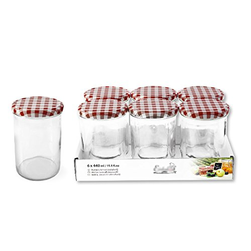 6 Stk. 440 ml Sturzgläser Einmachgläser Marmeladengläser Schraubdeckelgläser Gläser TO82 mit Deckel dunkelrot /weiß kariert