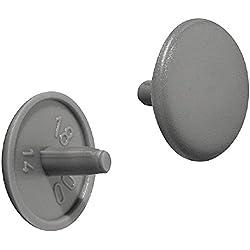 Gedotec Möbel-Abdeckkappen rund Schrauben-Abdeckungen Kunststoff Verschluss-Stopfen grau RAL 7037 | Modell Nr. H1115 | Schrauben-Kappen für Kopflochbohrung PZ2 | Ø 12 x 2,5 mm | 20 Stück