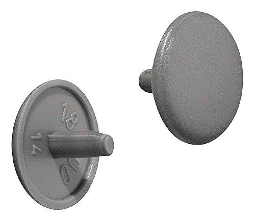 Gedotec Möbel-Abdeckkappen rund Schrauben-Abdeckungen Kunststoff Schrauben-Kappen grau RAL 7037 | Modell Nr. H1115 | Verschluss-Stopfen für Kopflochbohrung PZ2 | Ø 12 x 2,5 mm | 50 Stück