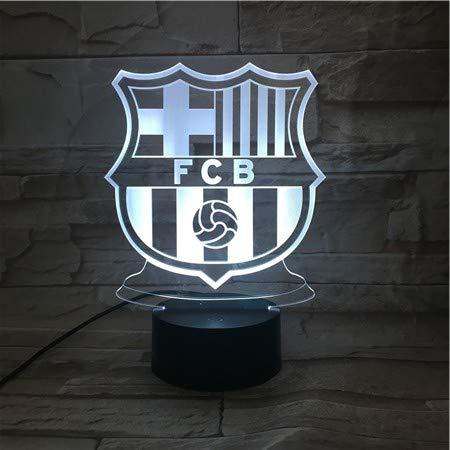 WoloShop Lampara LED FC Barcelona Cambia Color USB Luz Nocturna
