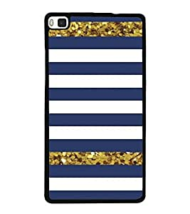Blue and White Line Pattern 2D Hard Polycarbonate Designer Back Case Cover for Huawei P8