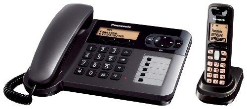 Panasonic KX-TG6451GT Telefono cordless con microtelefono con filo e ID chiamante (con supporto di ricarica) [Importato da Germania]