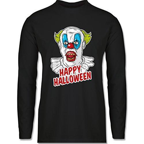 Shirtracer Halloween - Happy Halloween - Clown - Herren Langarmshirt Schwarz