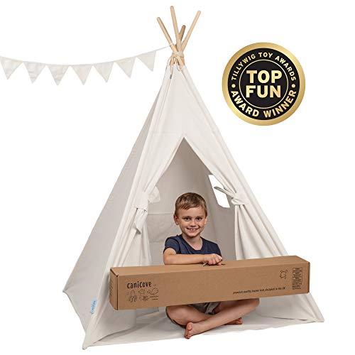 Canicove Tipi Zelt Für Kinder - Faltbares Indoor & Outdoor Set Baumwolle Naturfarben mit Massivholzpfosten & Jux Flaggen für 2 Jungen & Mädchen (Weiß) Segeltuch Wigwam (Persönliche Zelt)