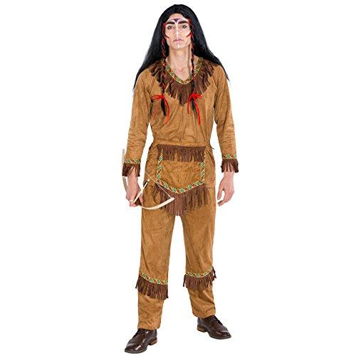 TecTake dressforfun Herrenkostüm Indianer Häuptling | Kostüm + Gürtel in Taschenoptik | Apache Indianer Faschingskostüm (S | Nr. - Indianer Kostüm Mann