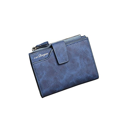 Wewod Vintage Herren Brieftasche Geldbeutel Geldbörse Portemonnaie mit RV-Taschen Münzgeldfach ca. 12.5*10*2.5 cm Marineblau
