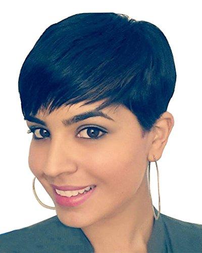 Perruque noire pour femme FALAMKA - Cheveux raides à l'aspect naturel - Coupe courte
