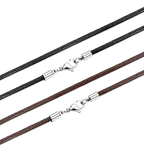Yadoca 2 Pcs 3MM Collar de Cuero para Hombres Mujeres Negro Marrón Cadena Collar Cierres de Acero Inoxidable 41-76cm