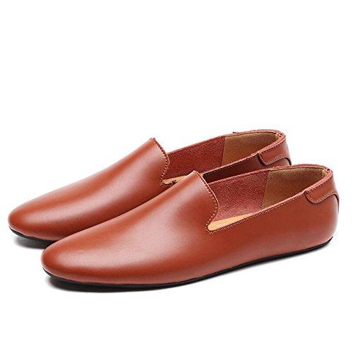 Der Bean-Übung (Sommer-neue lederne beiläufige Schuhe der Männer arbeiten Geschäfts-Müßiggänger-Schuhe Mokassins-Schuhe Männer PU-lederne zufällige faule Schuhe Bean's Schuhe der Männer ( Farbe : Braun , Größe : 44 ))
