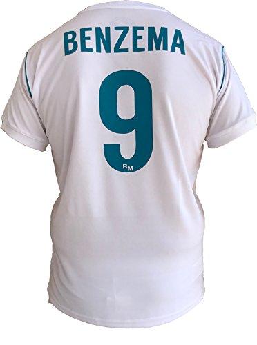 Roger's SL - REAL MADRID Camiseta Jersey Futbol Karim Benzema 9 Replica Autorizado 2017-2018 Niños (2,4,6,8,10,12,14 año) Adultos (Small, Medium, Large, Xlarge, Xxlarge) (Talla 6 Años)