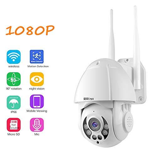 RRigo PTZ IP-Kamera im Freien 1080P Wireless-Überwachungskamera, Im Freien IP66 wasserdichte,Two-Way-Audio, Pan Tilt, 4X digital Zoom Dome, Unterstützung ONVIF NVR