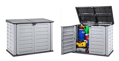 2 Stück XXL Mülltonnenbox aus robustem Kunststoff. Deckelöffnung mit Gasdruckfeder. Abschließbar. Passend für 240 Liter Mülltonnen. Maße 155,8 x 90,4 x 116,6 cm.