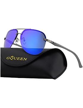 GQUEEN Bisagras de resorte Premium Al-Mg aviador gafas de sol polarizadas MOS1