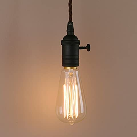 Pathson Industrial Vintage Edison Pendant Light Lamp Holder Suspension Ceiling Light Fitting Metal Loft Bar Hanging Single Lamp Fixture E27 (Black)