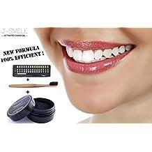 J-SMILE / blanqueamiento dental-polvo de carbón activado de coco/para blanqueamiento de los dientes/kit para blanqueamiento de dientes/NUEVA FORMULA 2017 !!/ EFECTIVA 100%/ fácil de limpiar/GRATIS: 1 cepillo dental de bambú y un calibre de blancura/ blanqueador dental-blanqueamiento dental carbon-Marca 100% francés.