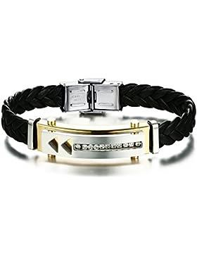 joielavie Schmuck Armband Armreif Strass Arc Tag Pfeil Richtung geflochten Leder Edelstahl Armband Hand Seil Bling...