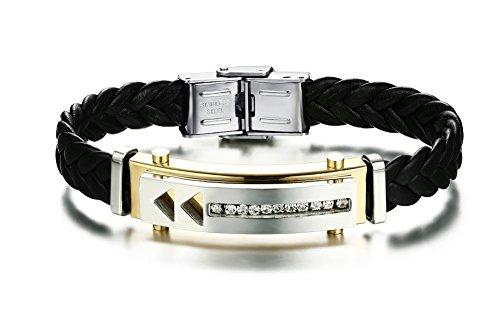 joielavie Schmuck Armband Armreif Strass Arc Tag Pfeil Richtung geflochten Leder Edelstahl Armband Hand Seil Bling Cool Geschenk für Herren