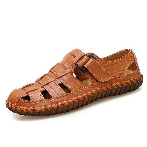 Moodeng sandali uomo estivi sportivi pelle trekking scarpe da spiaggia per all'aperto escursionismo traspirante