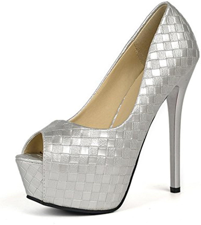 GAOLIXIA Damen Fisch Mund hochhackigen wasserdichte Plattform einzelne Schuhe Weave Lattice hochhackigen Sandalenö