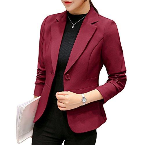 Yilianda donna ufficio casuale tailleur elegante corto blazer carriera tailleur giacca rosso m
