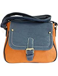 Adiari Fashion Red And Navy Blue Colored Buckle Sling Bag For Women