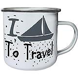 Nuevo Barco Del Barco Del Viaje Del Amor De I Retro, lata, taza del esmalte 10oz/280ml l748e