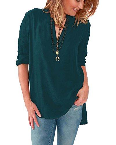 Camicia donna manica lunga scollo a v in chiffon sciolto tunica camicetta mini abito tasca alta_verde scuro_l