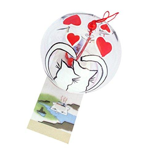 Fenteer Sélection Multiple Fabriqué À La Main en Verre Carillon en Cristal De Voiture Maison Ballon Suspendu Décoration Cadeaux Créatifs - #3 Couple de Chats